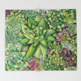 Watercolour Succulents Throw Blanket