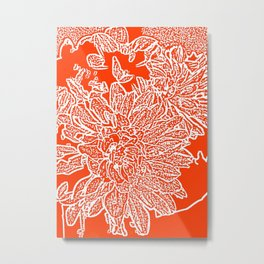 Dahlia Lino Cut, Fiery Red Metal Print