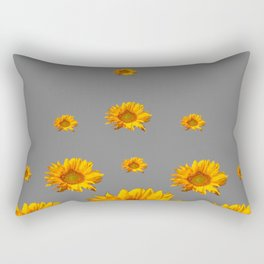RAINING GOLDEN YELLOW SUNFLOWERS GREY Rectangular Pillow