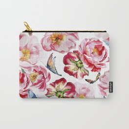 Pink flowers peony and butterfly background watercolor wedding illustration Carry-All Pouch