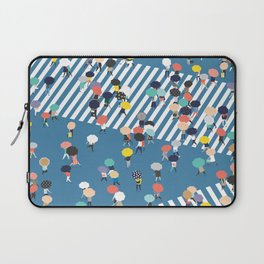 Crossing The Street On a Rainy Day - Blue Laptop Sleeve