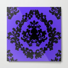 Victorian Damask Purple and Black Metal Print