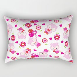 Pattern Of Owls, Cute Owls, Pink Owls, Hearts Rectangular Pillow