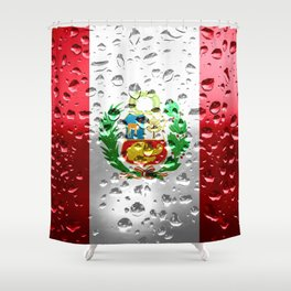Flag of Peru - Raindrops Shower Curtain