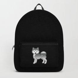 Silver Alaskan Malamute Dog Cute Cartoon Illustration Backpack