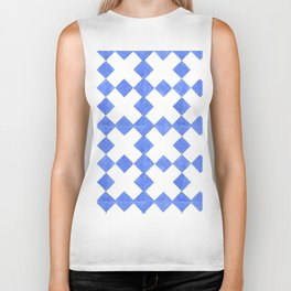 Modern blue  white watercolor crosses geometric pattern Biker Tank