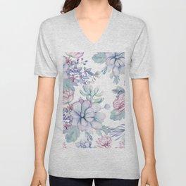 Pretty Blue Pink Succulents Garden Unisex V-Neck
