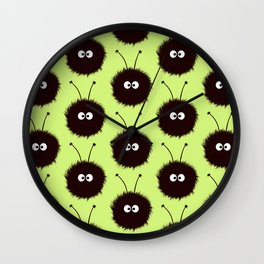 Green Cute Dazzled Bugs Pattern Wall Clock