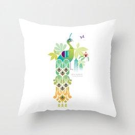 Java Green Peacock [Pavo Muticus] Throw Pillow