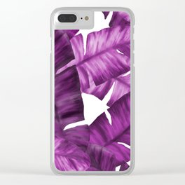 Pink Tropical Banana Leaves Pattern Clear iPhone Case