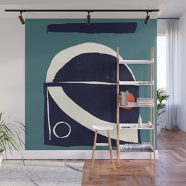Large Teal Modern Minimalist Design Wall Mural