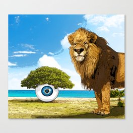 surreal sea scape with lion and tree eye Canvas Print