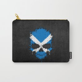 Flag of Scotland on a Chaotic Splatter Skull Carry-All Pouch