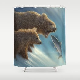 Brown Bears - Fishing Lesson Shower Curtain
