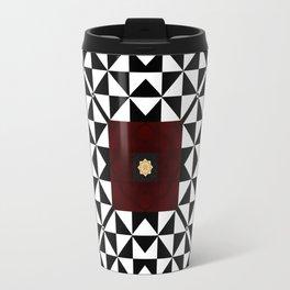 Ruby Red Marble w/ Blk & White Geometrica Pattern Insert Travel Mug