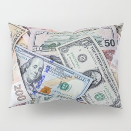 A collection of various foreign currencies Pillow Sham
