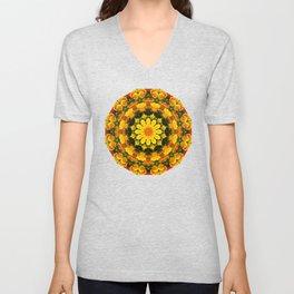 Floral mandala-style, California Poppies Unisex V-Neck