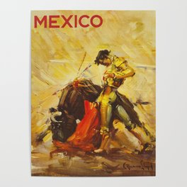 Vintage Mexico Bullfighting Travel Poster