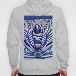 9911s-KMA_5200 Blue Stripe Seated Nude Arms Up Hands Out Belly Tattoo Hoody