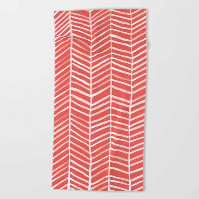Coral Herringbone Beach Towel