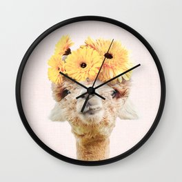 Alpaca Flowers Wall Clock