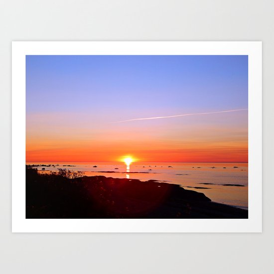Kayak Silhouette at Sunset Art Print