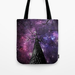 Wintry Trees Deep Purple Galaxy Skies Tote Bag