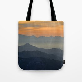 Sunset at the mountains Tote Bag