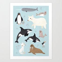 Nursery Arctic Animals POSTER Art Print