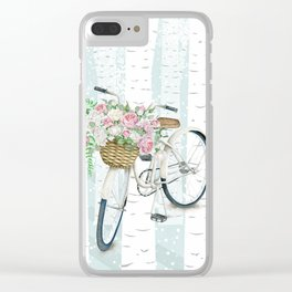 White Vintage bicycle in a Birch Forest Clear iPhone Case