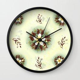 Plumeria Mandala Wall Clock