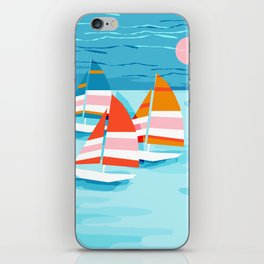 Popin - memphis sports retro throwback neon sailing sailboat cool rad gnarly trendy watersports iPhone Skin