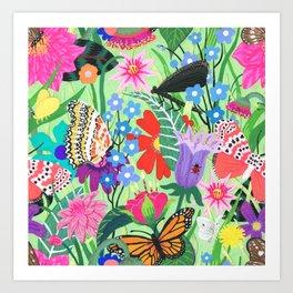 Butterfly and Moths Pattern - Green Art Print