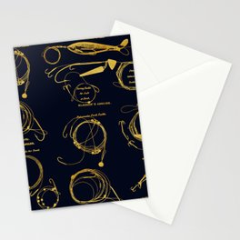 Maritime pattern- Gold fishing gear on darkblue background Stationery Cards