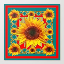 Red & Teal Sunflowers Pattern Art Canvas Print