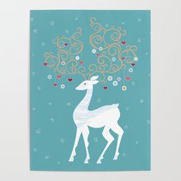 Christmas Deer (Turquoise)  Poster