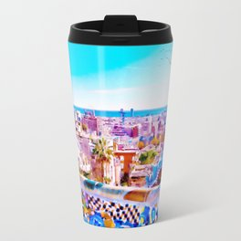 Park Guell Watercolor painting Metal Travel Mug
