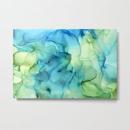 Blue Green Spring Marble Abstract Ink Painting Metal Print