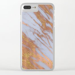Living Coral and Rose Gold Marble Pattern Clear iPhone Case