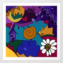 """Before the Celebration"" bold, colorful doodle art Art Print"
