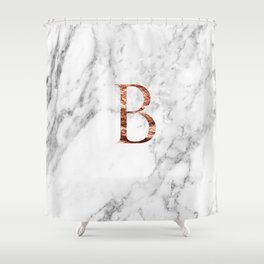 Monogram rose gold marble B Shower Curtain
