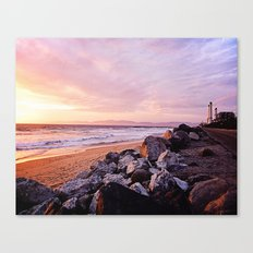 Vibrant Sunset over the Stacks at Huntington Beach, California Canvas Print