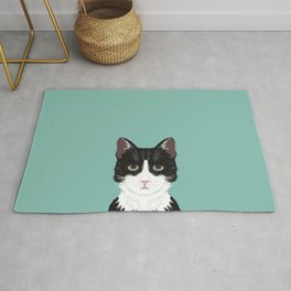 Quinn - Cute black and white cat tuxedo cat gifts for cat lady gift ideas cell phone case with cat Rug
