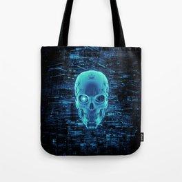 Gamer Skull BLUE TECH / 3D render of cyborg head Tote Bag
