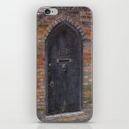 The Old Stables - Black wooden door with lion-head clapper iPhone Skin