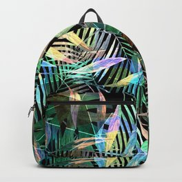 Tropical pattern.2 Colorful leaves on black Backpack