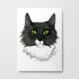 Curly Sue the Tuxedo Cat Metal Print