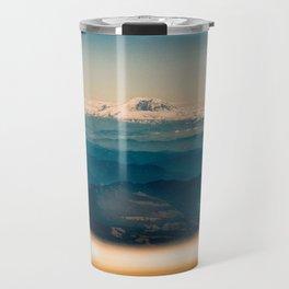 Mount Rainier seen through an airplane window Travel Mug