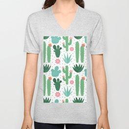 Seamless cactus pattern, exotic desert, cactuses houseplants background Unisex V-Neck