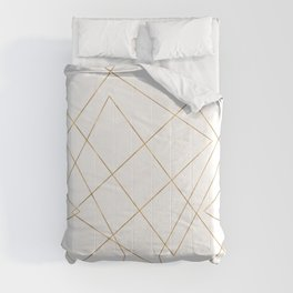 Modern Gold Geometric Strokes Abstract Design Comforters